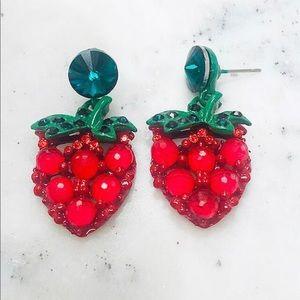 Crystal Strawberry Earrings, NWT